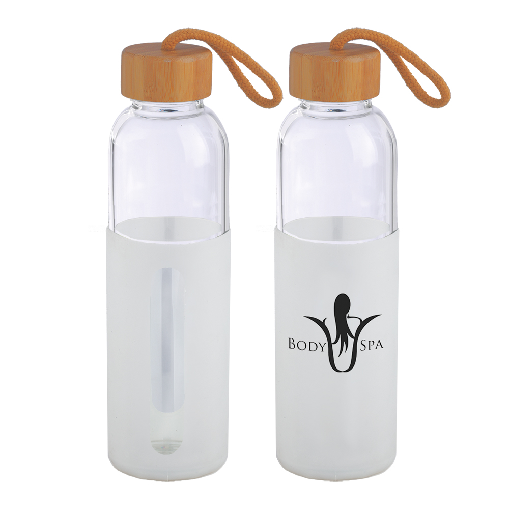 16 Oz. Glass Bottle w/Bamboo Cover Lid & Silicone Sleeve