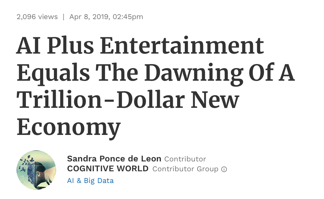 Featured in Forbes AI in Entertainment .