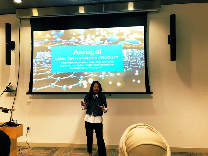 I'm up pitching– Presenting the opportunity of Qatar's enhanced nano tech aerogel, a phase changing agent can have a potential impact to the functional and smart apparel market.