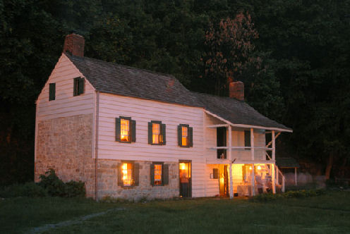 The Kearney House at night.