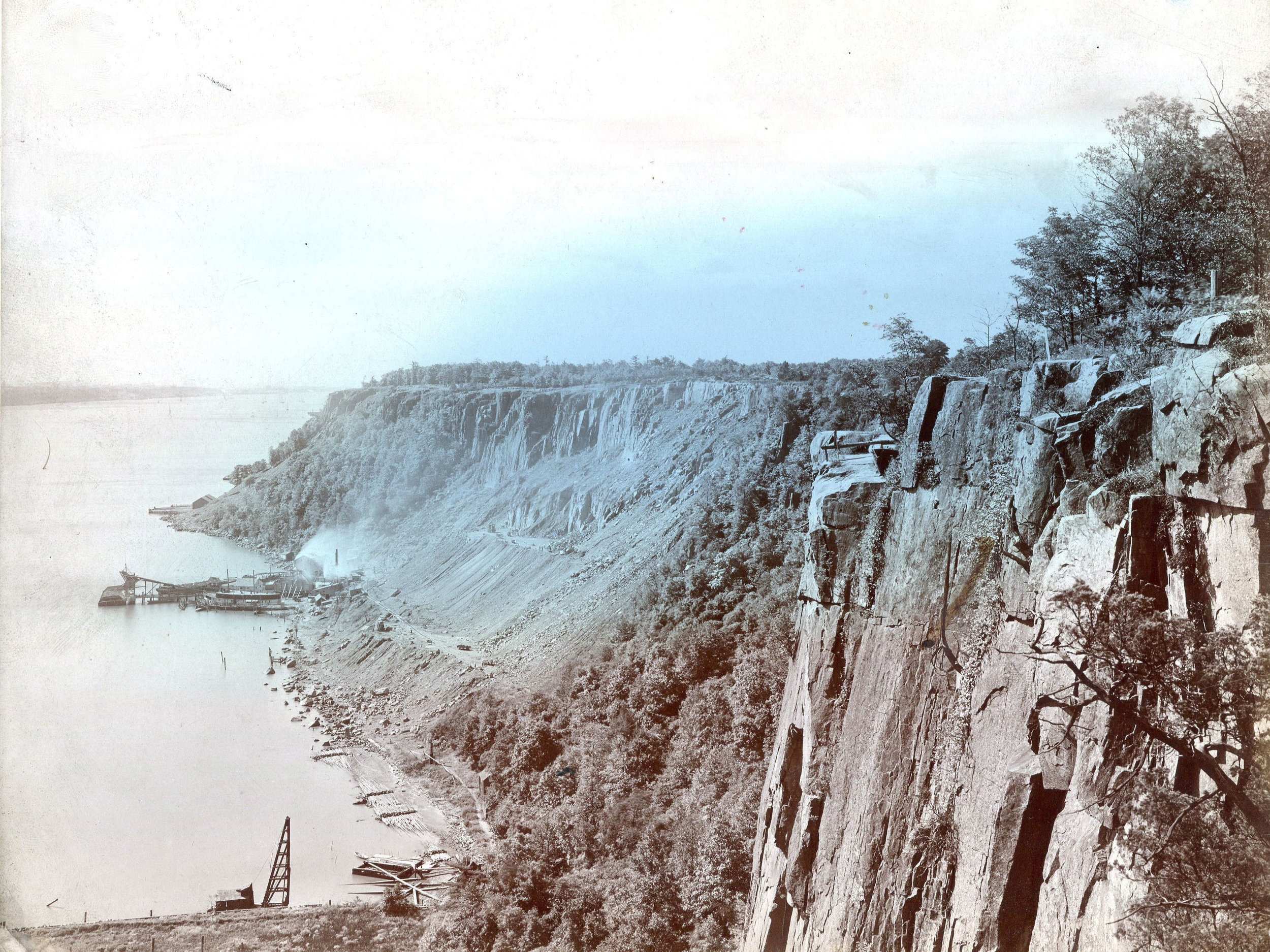 Late 1890 - Quarrying of the Palisades Cliffs was heard throughout the Hudson Valley, echoing across the River.