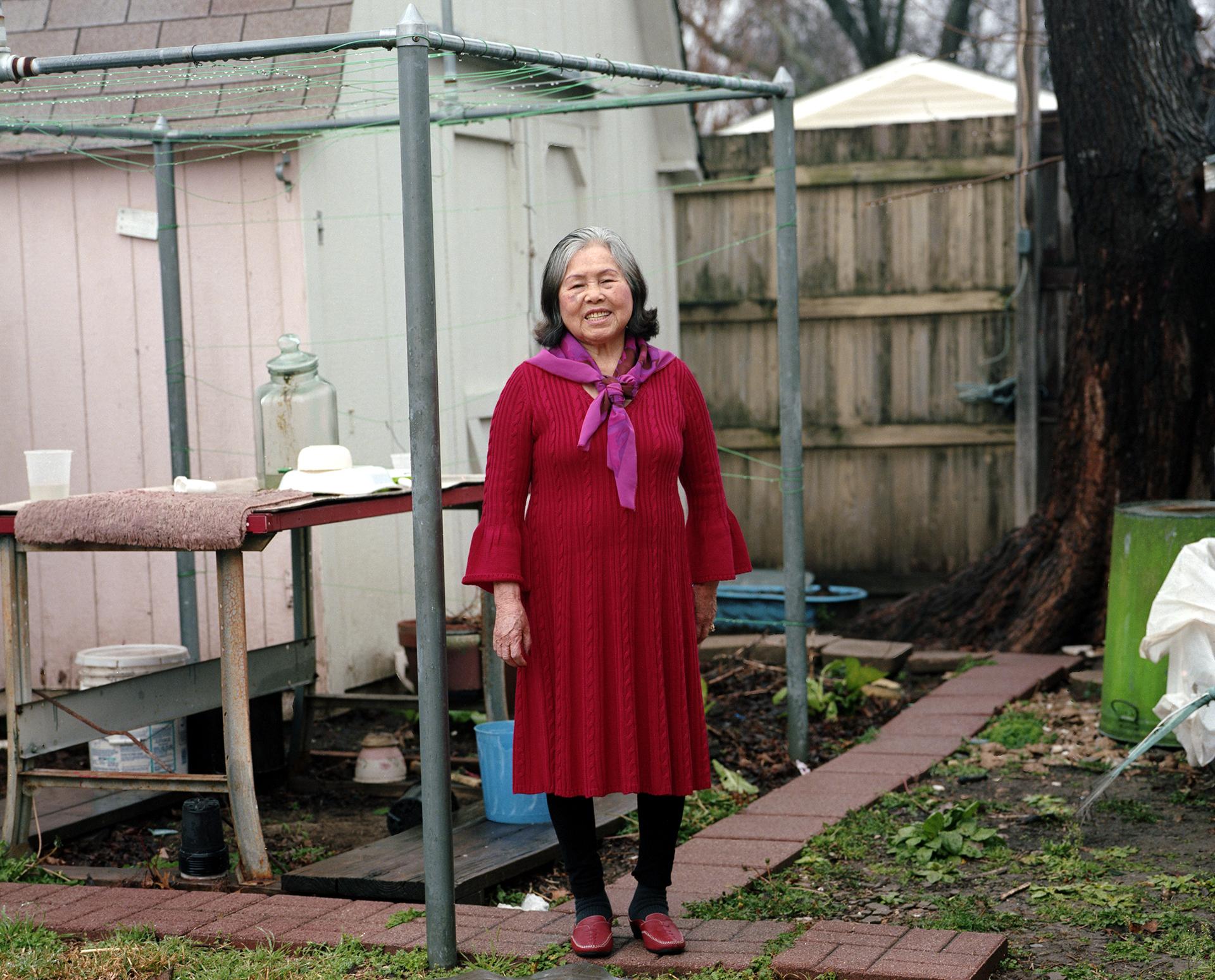 Grandma in The Backyard.