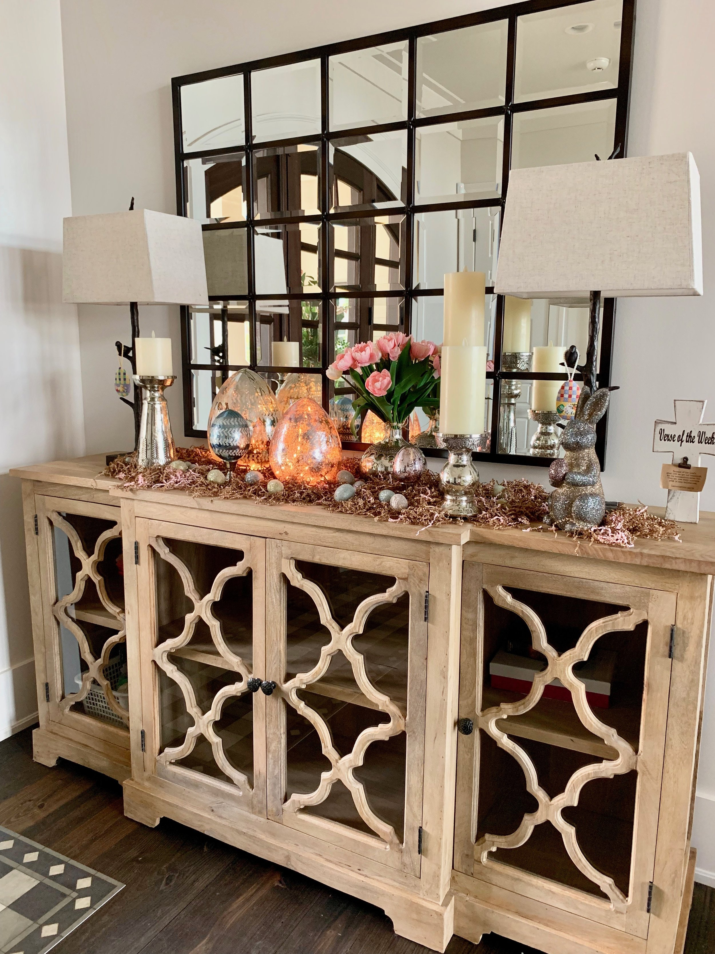 This my foyer from a different angle. I love this cabinet too. The mirror is a Pottery Barn Egan - the largest size.