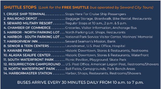 Seward Free Shuttle Stops
