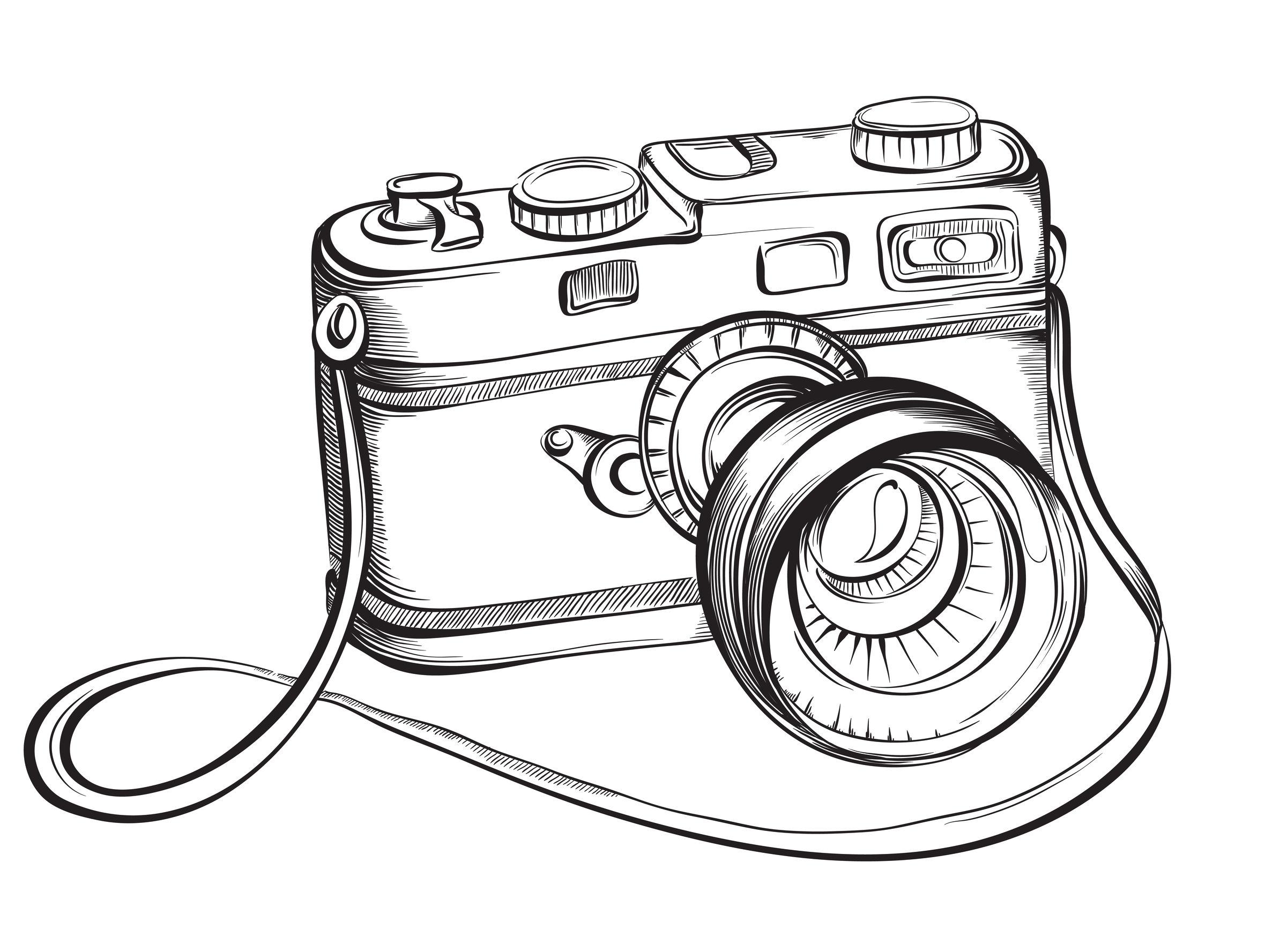 40460583 - sketch vintage retro photo camera. vector hand drawn illustration