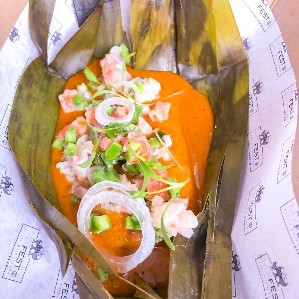 """""""Tamal de Frijol Ayocote con Cebiche de Trucha, Nopales y Mole Amarillito"""" en el marco del  #MxFest2019"""
