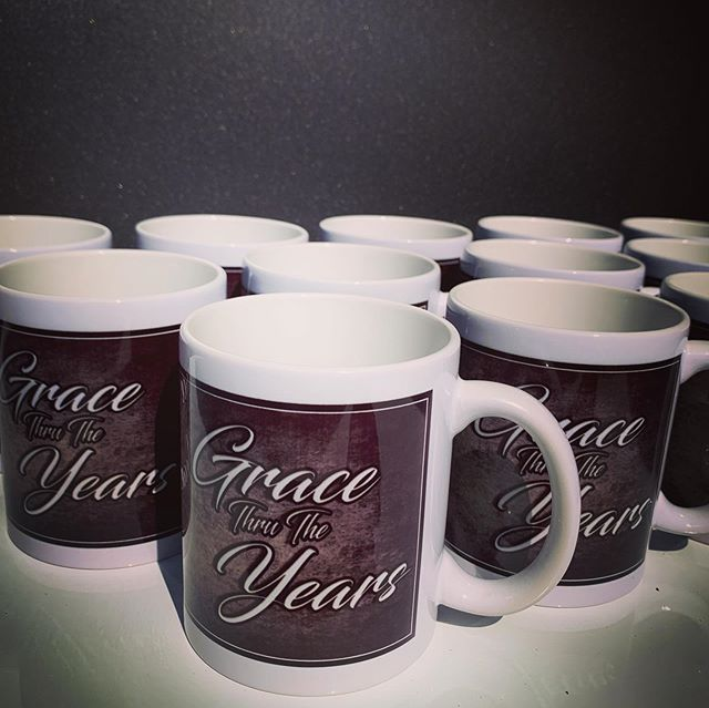 We printed these mugs for Midway Baptist Church's 100 Year Celebration. What a milestone! #custommugs #mugs #grace #gracethrutheyears #milestone #100years #100 #coffee #coffeemug #carboncanvas #graphicdesign #printing