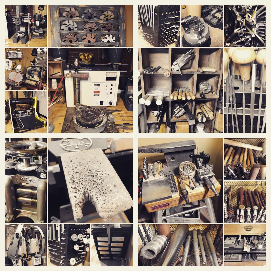 How many of these can you identify? Files and burs, torch and shears, pliers and hammers, press and rolling mill . . . I'm just now realizing I didn't even get the saws in this collage!