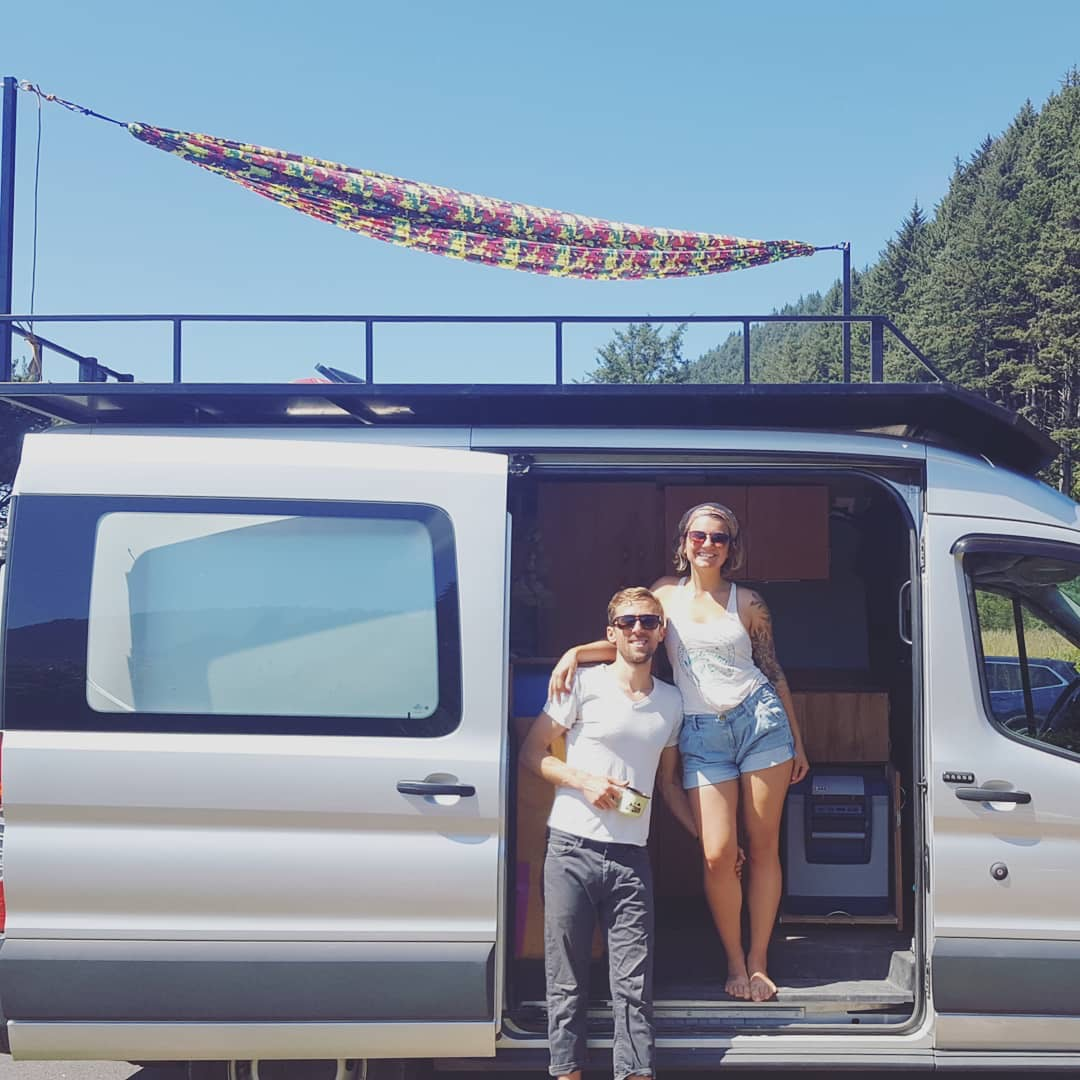 Grant and Aliciea on the road enjoying their custom built adventure van