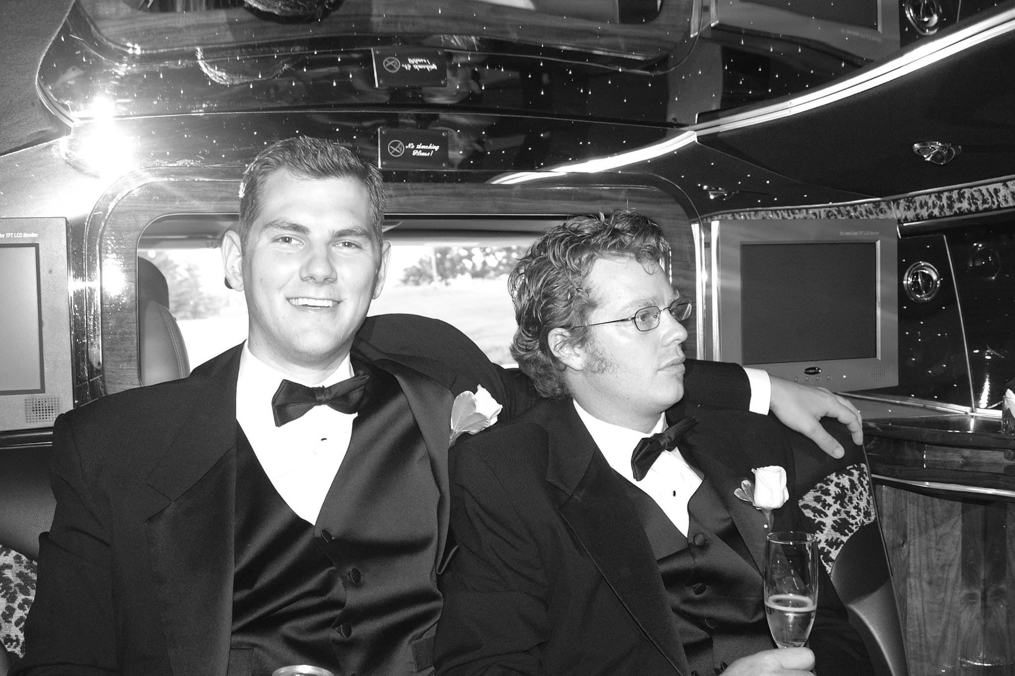 Kevin and I headed to or from (can't remember) or friend's wedding.