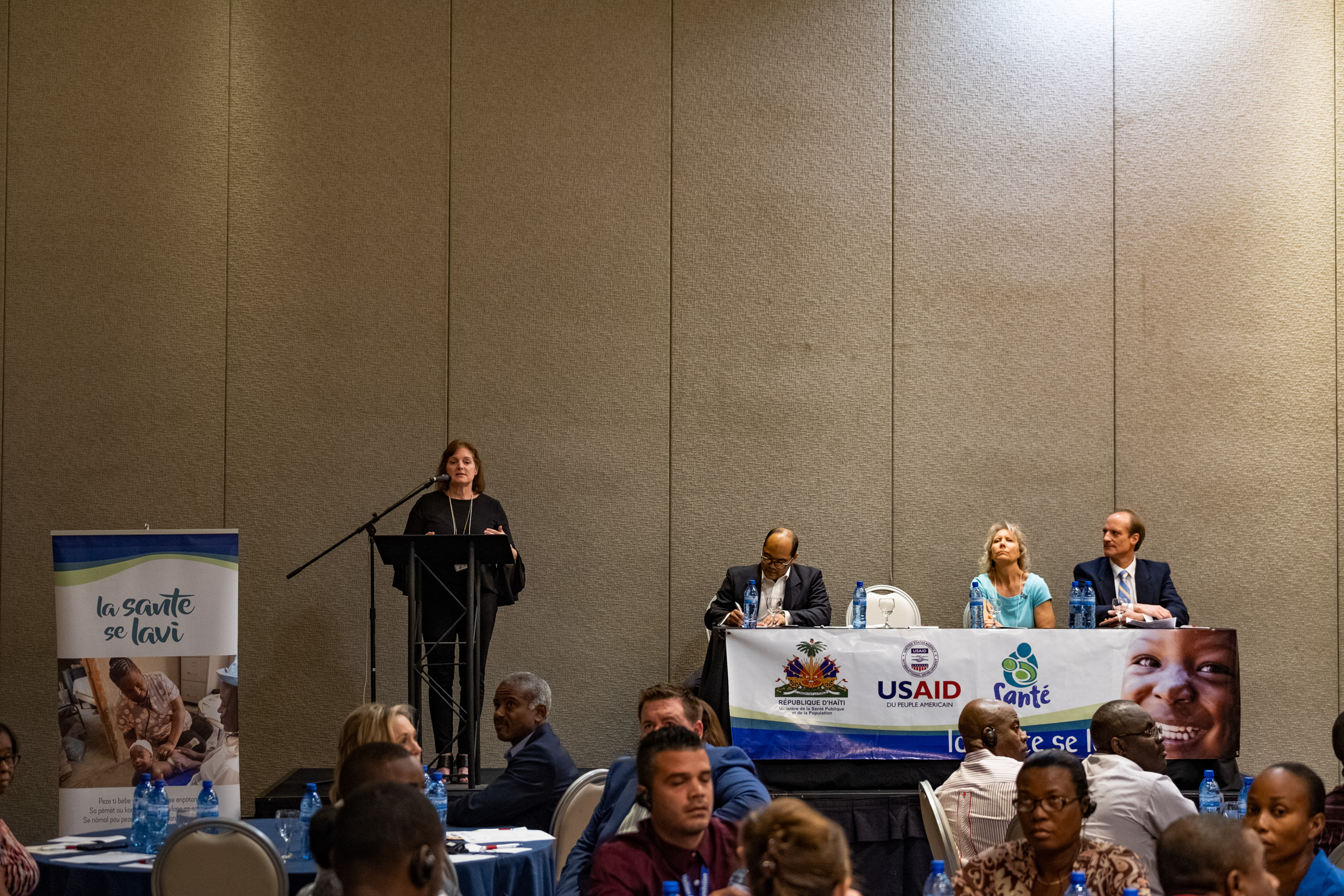 Pamela Brower, President of International Foundation for Sonography Education and Research (IFSER), presenting an overview of ultrasound to over 40 Haitian healthcare professionals.