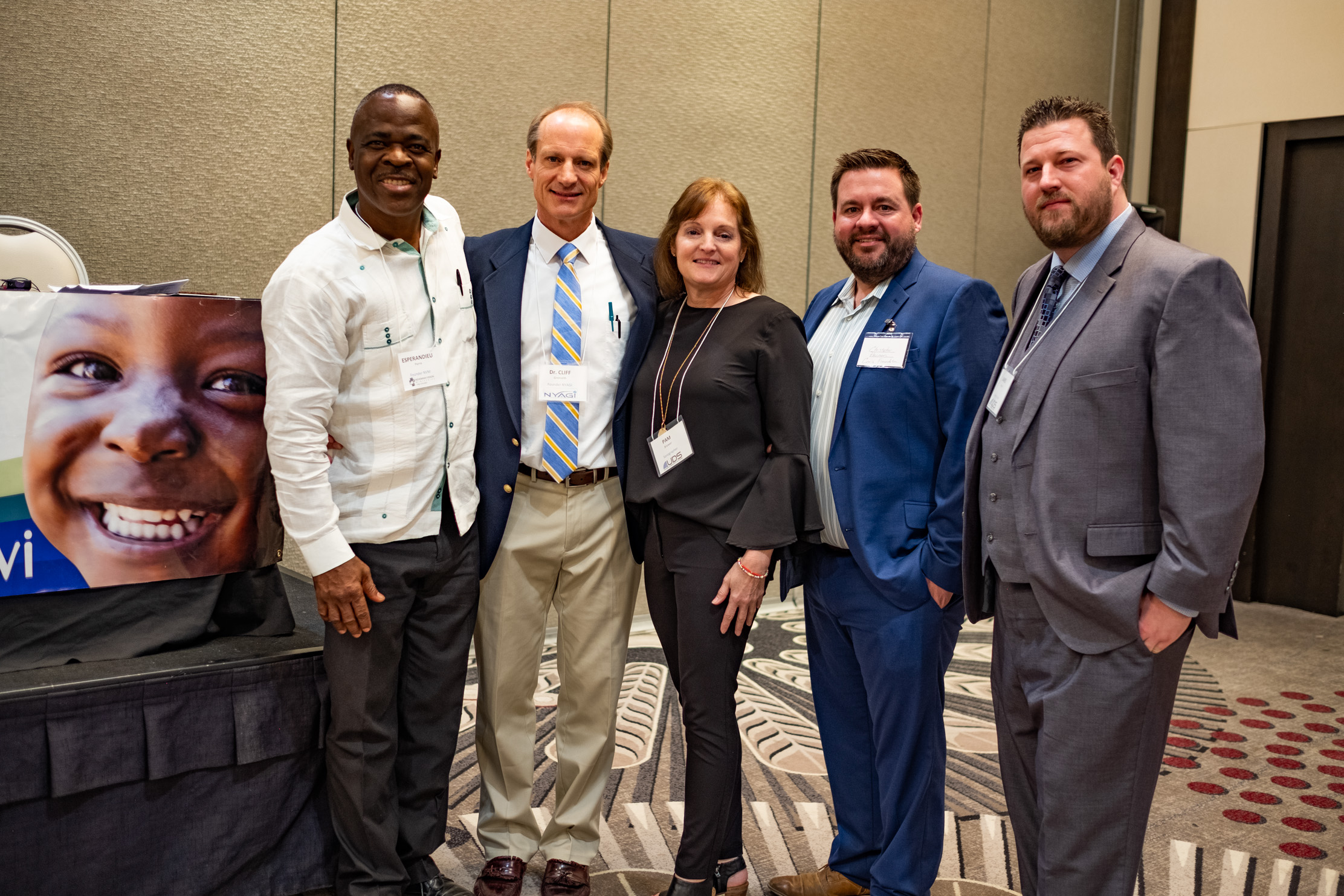 Left to right: Pierre Esperandieu, Dr. Cliff Gronseth (founder, NYAGI), Pamela Brower (President, International Foundation for Sonography Education and Research), Christopher Harmon (Vice President, Caris Foundation), and James Warren (Director of Sales, UDS).