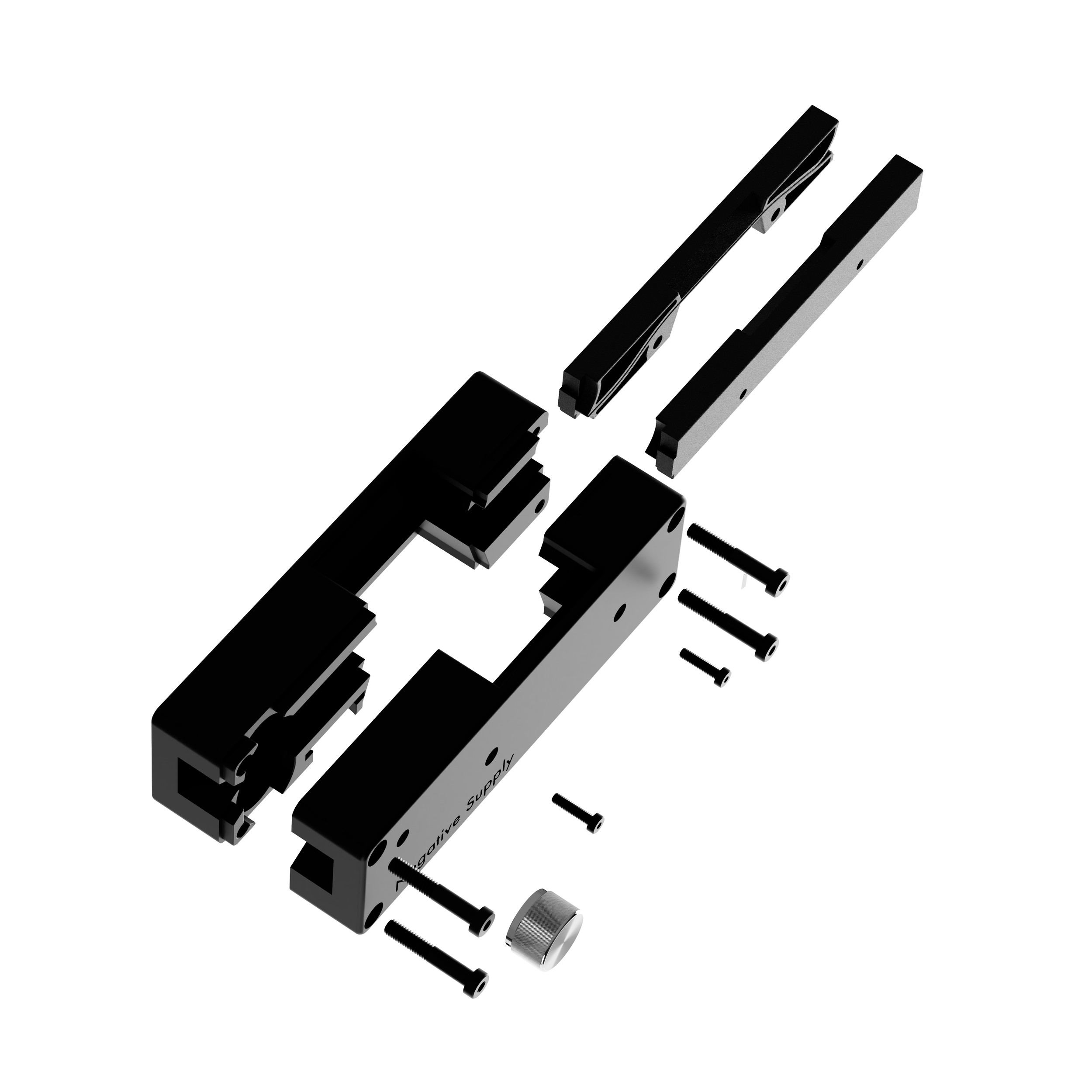 Film Carrier MK1 partially disassembled, shown with customized hardware and in CNC machined construction.