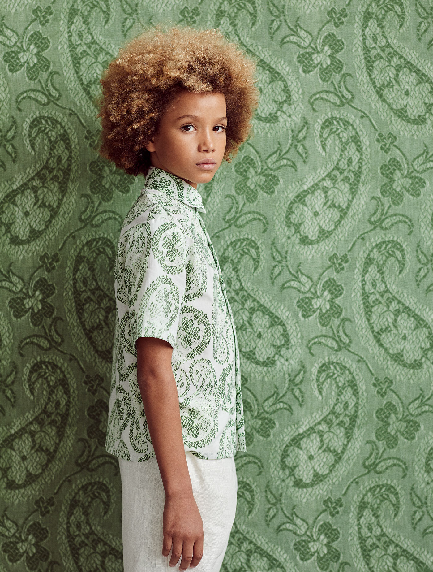 Wallpaper - Maharaja's Brocade in coriander :: Fabric - Worn Paisley large in coriander, custom printed on cotton poplin for this shoot.