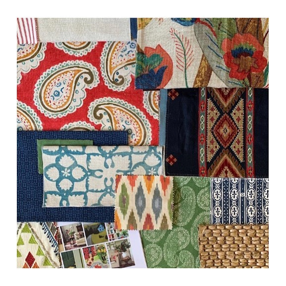 A deliciously rich and layered scheme by Melbourne-based @sarahmcpheeinteriors that includes my Worn Paisley Reverse print in coriander (bottom right). 🙌🏻🌿 Looking forward to seeing how this unfolds and thank you Sarah for including me in your gorgeous project. 😘💚 #interiors #interior #interiordesign #interiordecorating #colour #print #pattern #textiles #fabric #homedecor #decor #deco #ingeholst #homestyle