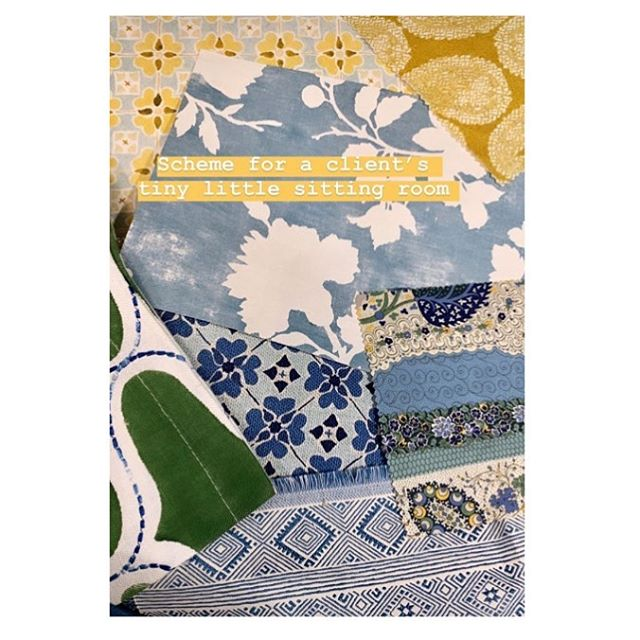 Wonderfully layered scheme by @annaspiro includes my Worn Paisley Reverse in Turmeric (top right). ☀️🙌🏻Excited to see the resulting tiny sitting room, no doubt it will be tiny but mighty. ⚡️Thank you Anna for including me in your project 💙💛 #tinybutmighty #interiors #interior #interiordesign #interiordesigner #colour #textiles #fabric #print #pattern #blue #turmeric #ingeholst #decor #deco #interiorstyle #interiordecorating