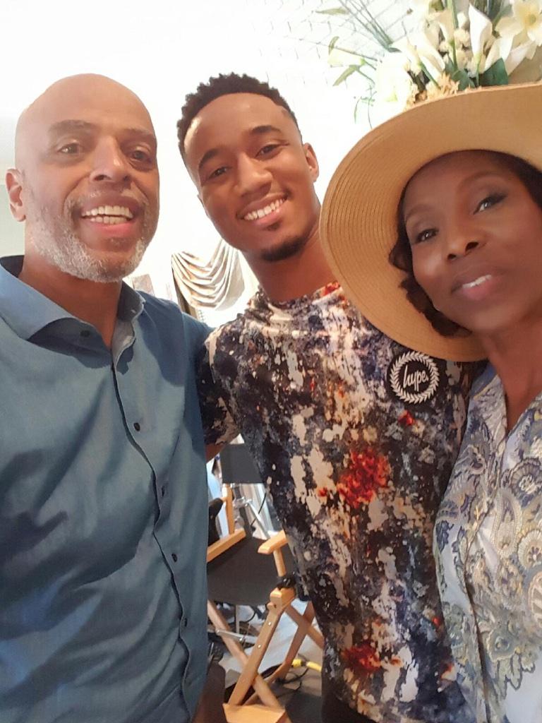 My TV husband Al Mitchell as Mr Pierce with our TV daughter's boyfriend Jessie Usher as Cam