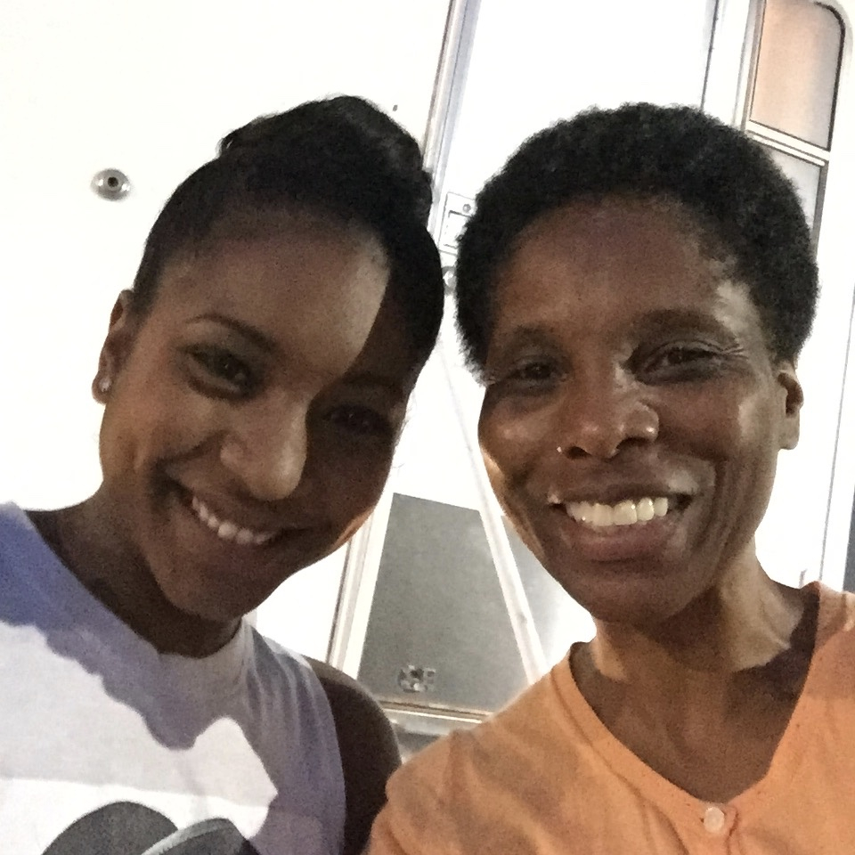 On set with my TV granddaughter Carlacia Grant in  Game of Silence