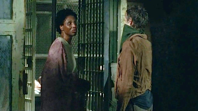 """""""It's just allergies"""" with Melissa McBride as Carol in  The Walking Dead"""