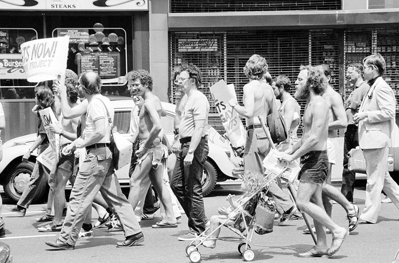 Gay rights demonstration at the DNC, New York City, 1976. (Credit: Warren K. Leffler)