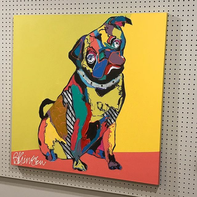 It's a PUG life... photographing Artist Brad Kringen's work for prints! Look at that personality! #aplisfineartprinting #digitalcapture #workingwithartists #siouxfallsprinting #printingstudio #siouxfallsartists #8thandrailroad #angiegillespieartist #pug #pugs #dogs