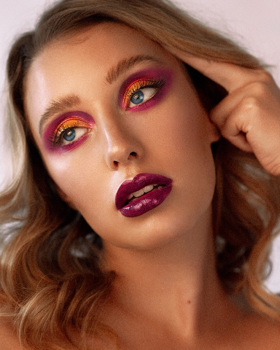 Beauty Makeup Highlighted Skin Rainbow Eyes by Jaynelle Lording