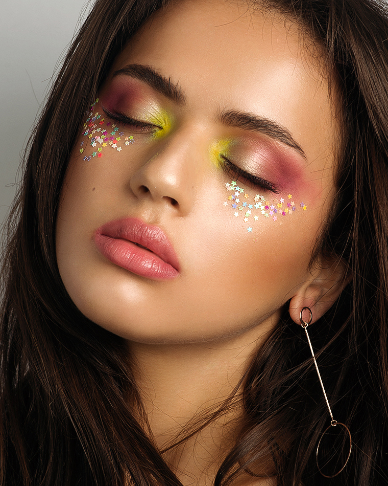 Natural Glowing, Bronzed Makeup and Skin, Pastel Rainbow EyeShadow and Glitter Stars. By Jaynelle Lording