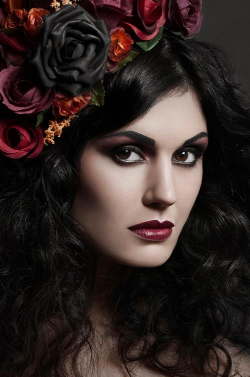 Beauty Makeup with Flowers and Plum Lipstick by Jaynelle Lording