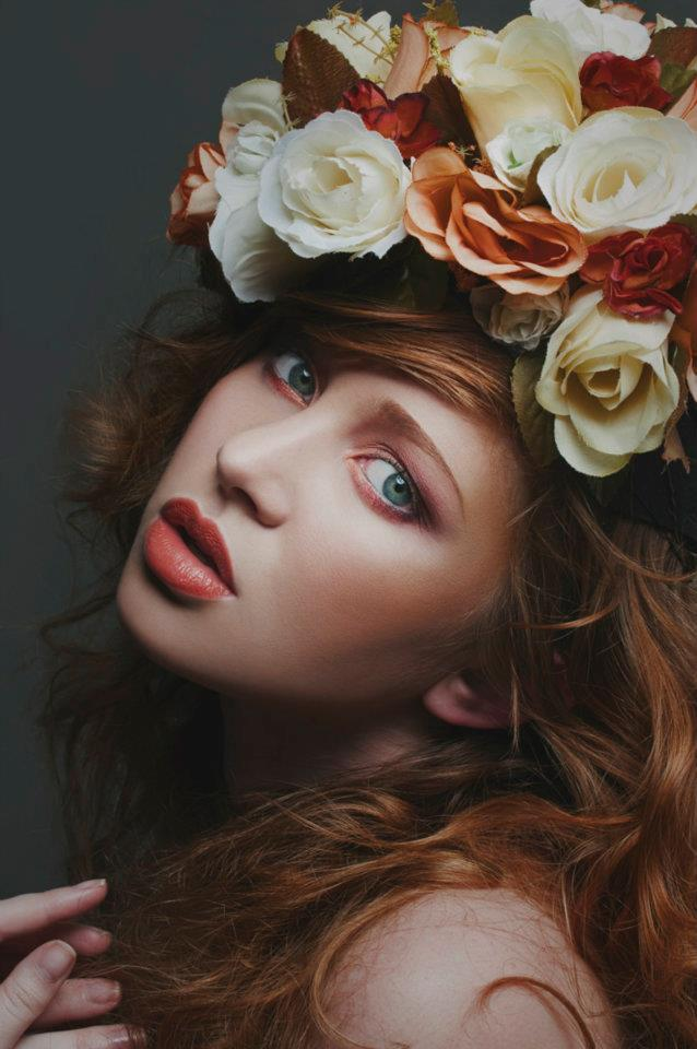 Natural Makeup with Flowers and Peach Lipstick by Jaynelle Lording