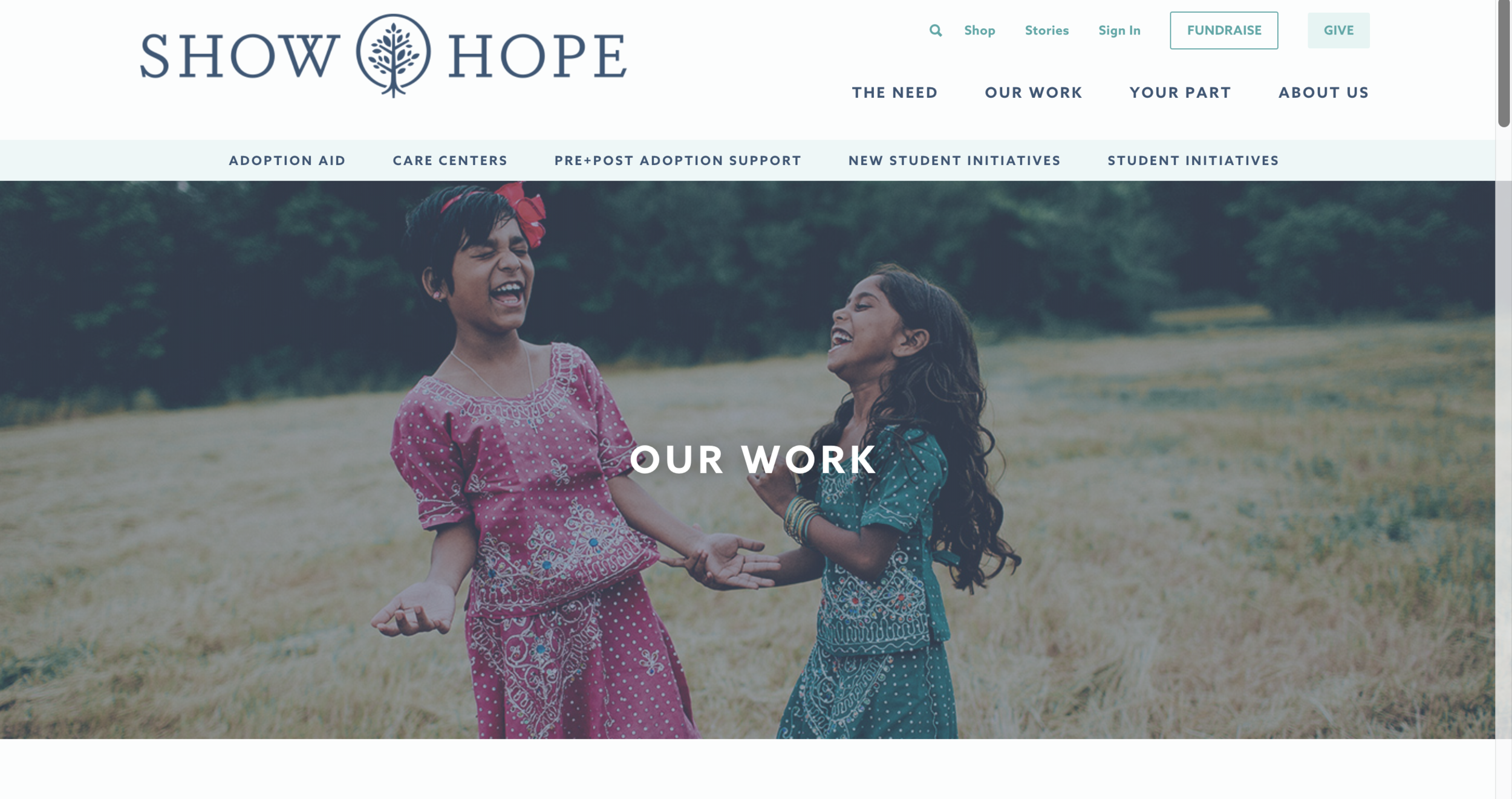 SHOW HOPE - Our mission: To care for orphans by engaging the Church and reducing barriers to adoption.