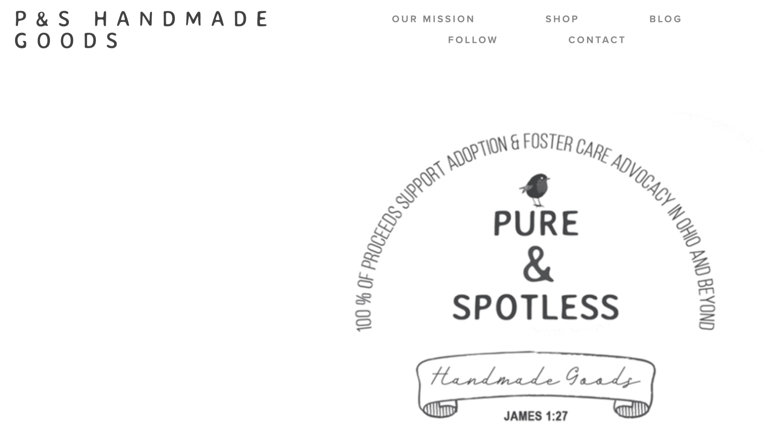 PURE & SPOTLESS GOODS - Introducing our brand, Pure and Spotless Goods! It's an online shop of thoughtfully designed items for the spaces where you live, work and rest. We hope you enjoy browsing online and find value in the high quality items we've been creating. And you can feel good about the fact that all of the proceeds of our shop fund the work of caring for modern day orphans in the Ohio area and beyond.
