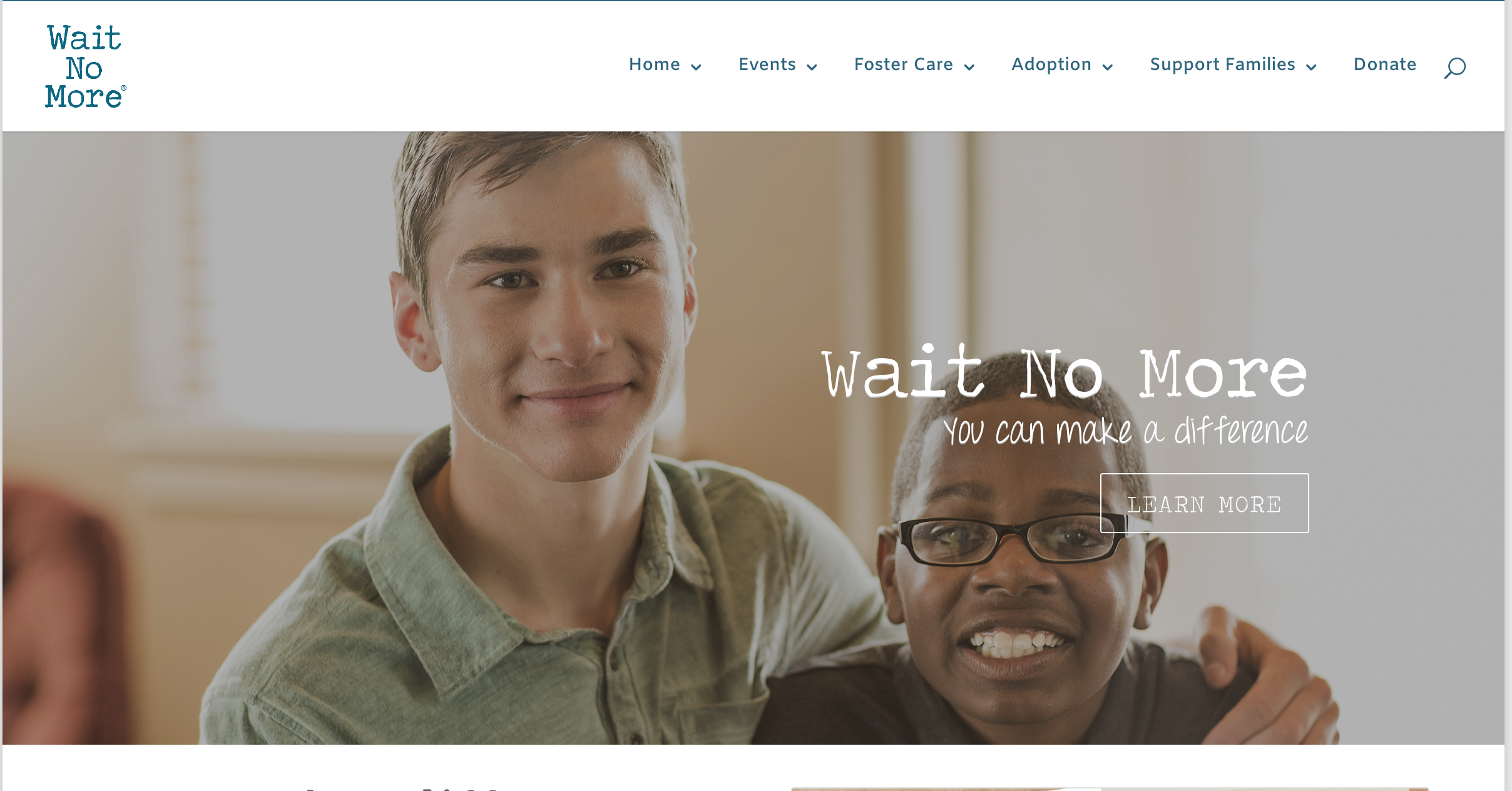 WAIT NO MORE  - What We DOOur initiative focuses on two main areas: Wait No More events, which educate and empower families to help waiting kids in foster carePost-placement resources for foster and adoptive families
