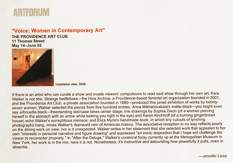"""Voice: Women in Contemporary Art"" is reviewed on ARTFORUM"