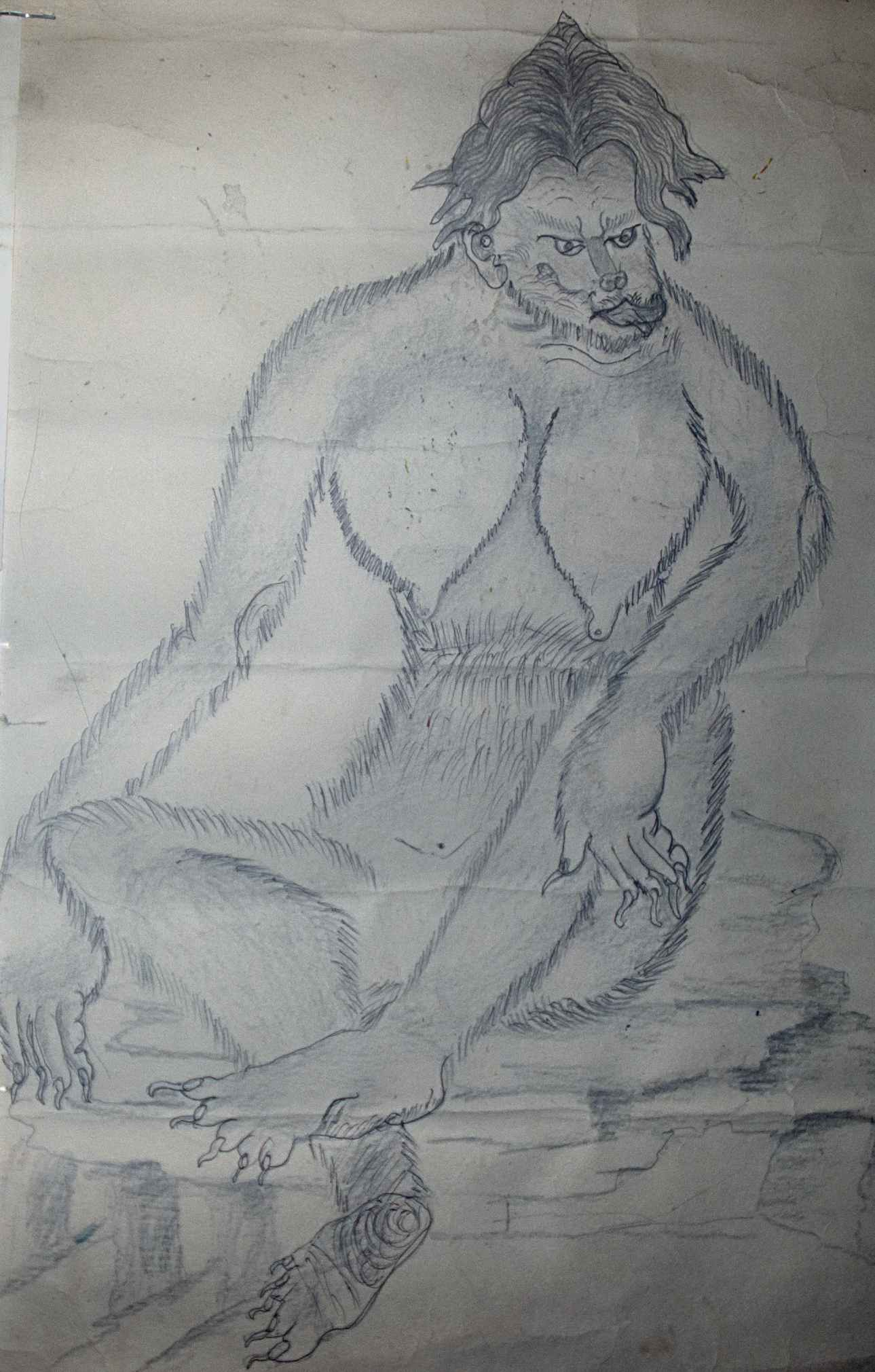 Local Sherpa man's interpretation of a yeti inspired by his grandfather's sighting