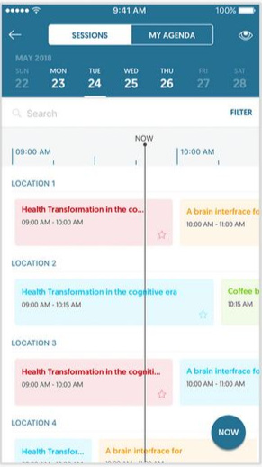 Attendee mobile app with live agenda