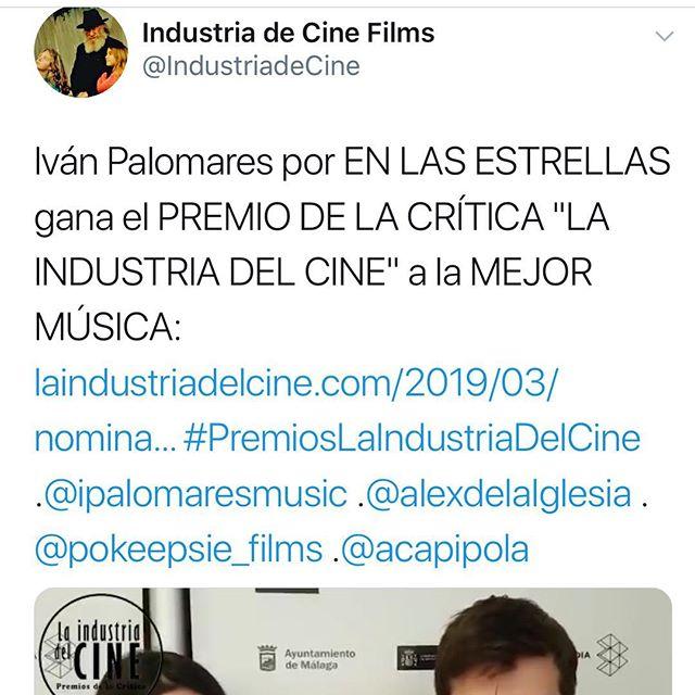 """Un honor haber ganado el premio a la mejor música en la primera edición de los premios de la crítica """"la industria del cine"""". Un honor también haber compartido nominación con un plantel de compositores y compositoras de altísimo nivel y talento.  Gracias!!"""