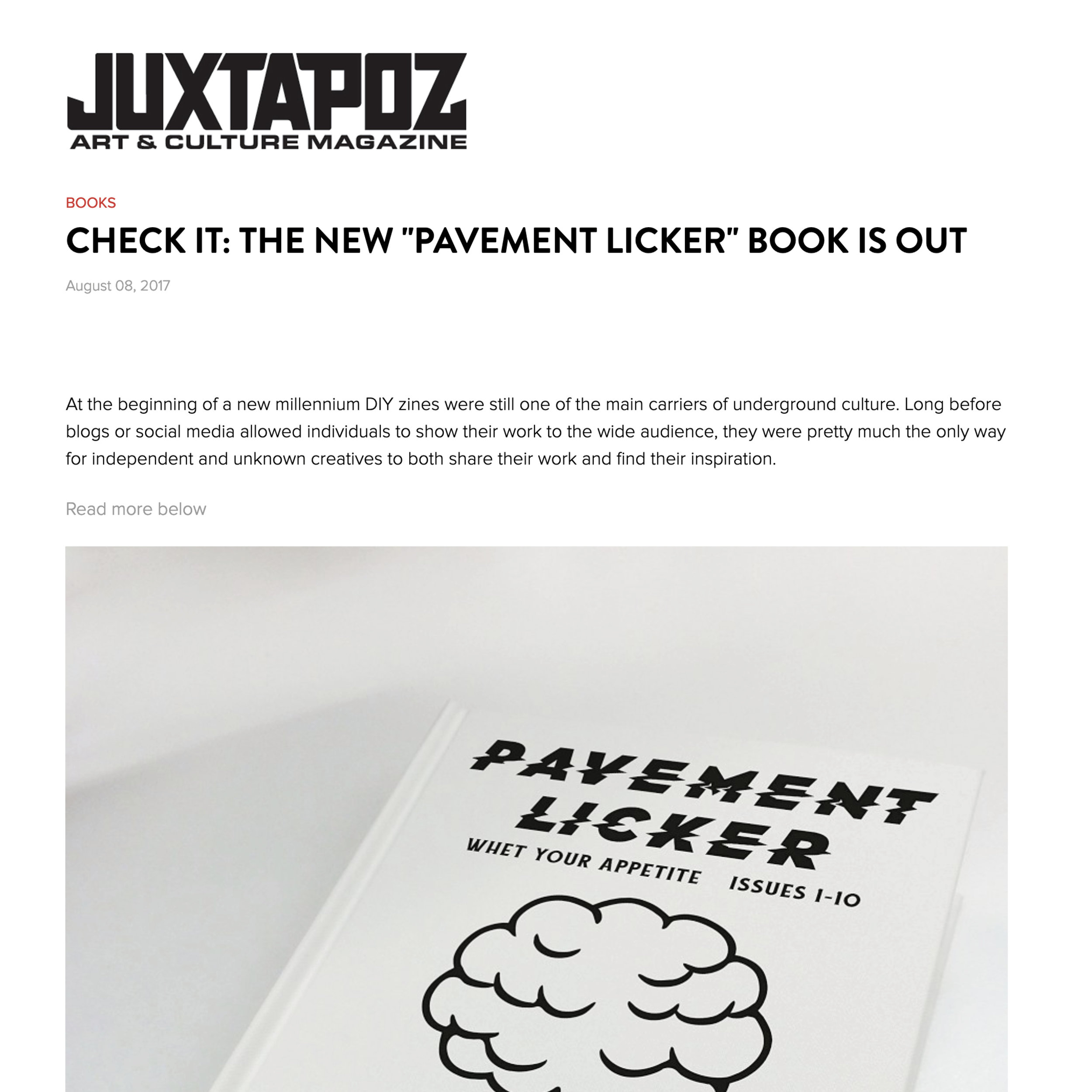 Pavement Licker book featured by Juxtapoz