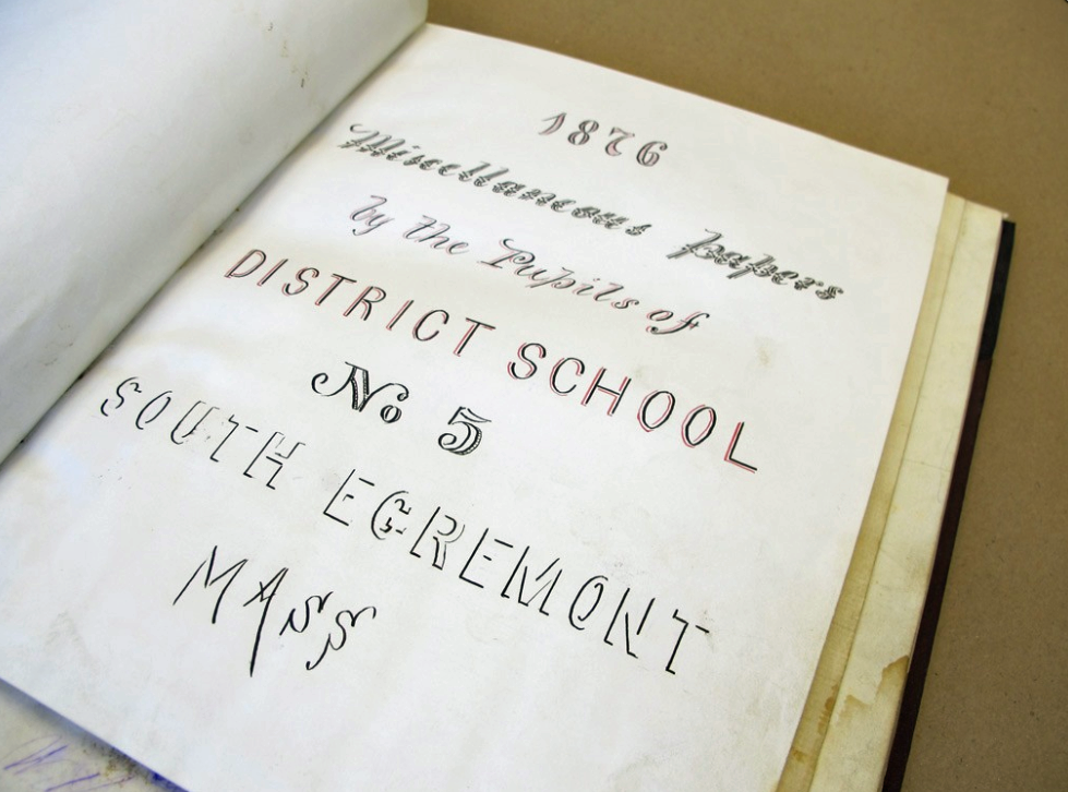 The 1876 book of drawings by Egremont school children.