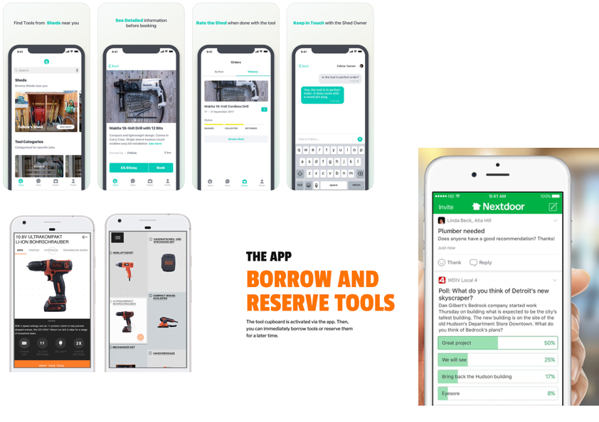 Competitive Analysis - Although there are apps which provide similar services such as My Shed (UK) and Black & Decker Social Tools, TooLoo is unique because it's free to users from the onset. In most cases, the indirect competitors include an element of payment for rental, or they are trying to tackle a much broader problem (Nextdoor, for example, is an entire social network). TooLoo keeps it simple.