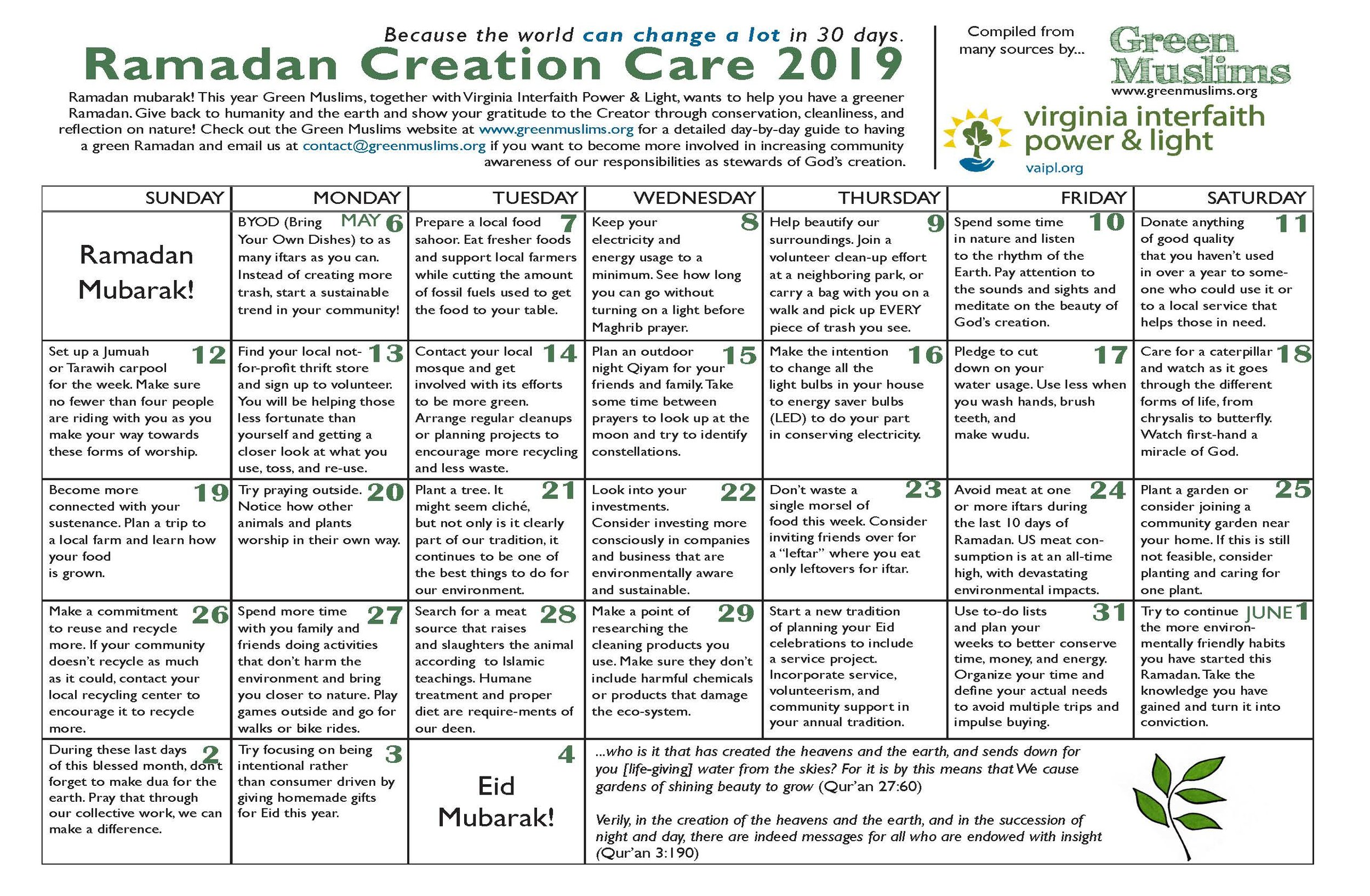 Green Muslims Ramadan Calendar is a joint efforts with our partners at Virginia Interfaith Power & Light.