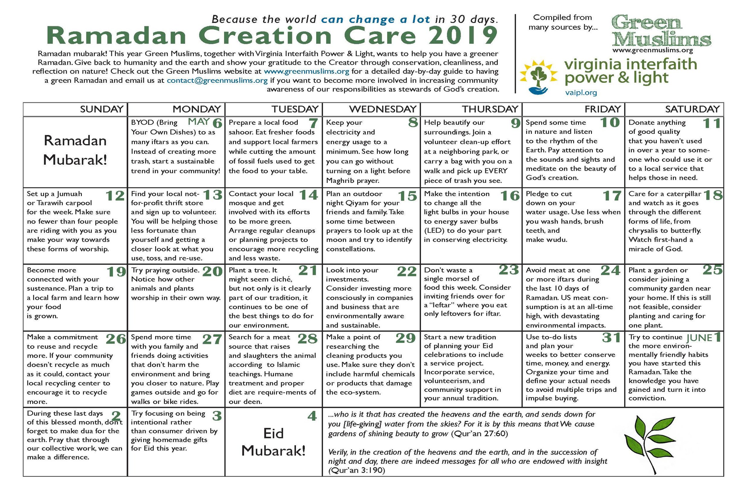 Ramadan Mubarak! - Green Muslims is proud to present our 2019 Ramadan Resources - including our Calendar, Toolkit and more!