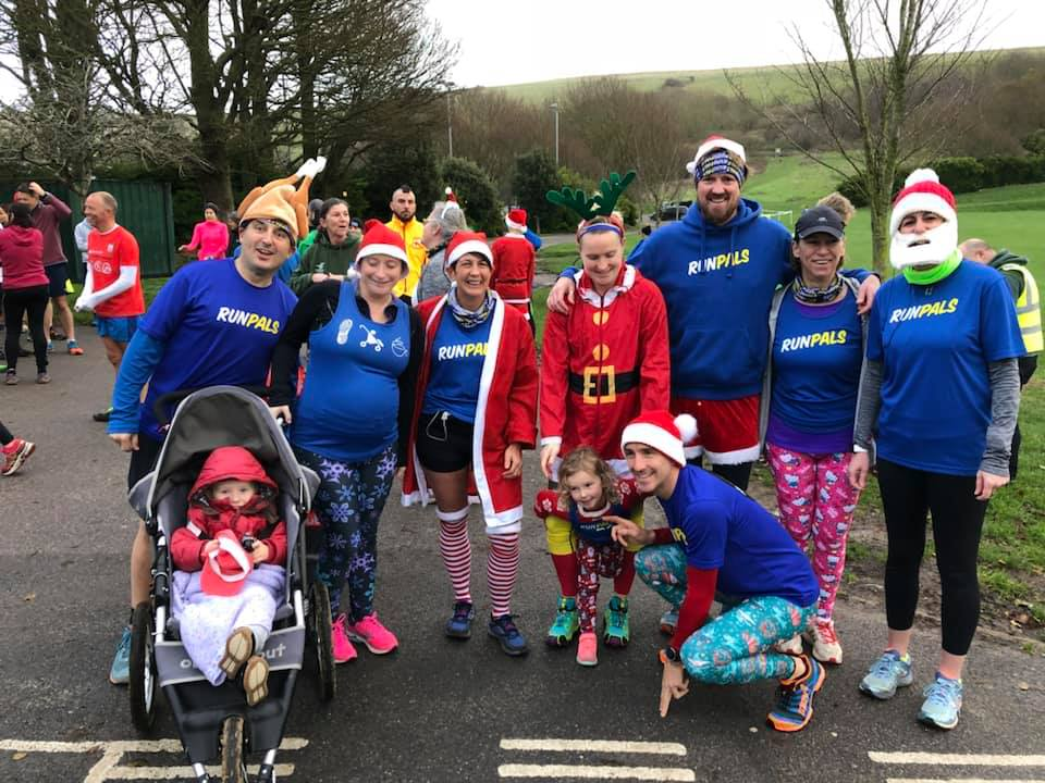 RunPals getting festive at East Brighton Parkrun, December 2019.