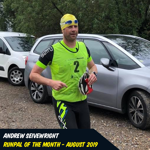 Andrew Seivewright - Aug '19 - Andrew was one of our first TriPals and continues to push his swimming and running. He conquered his first swimrun this summer and continues to support not only his lovely wife, but all of the pals at many events from the 530 run to the aquathlons at Pells. If he's not competing, he's cheering us from the sidelines, pacing and leading our swim sessions through the summer! We could all be a little bit more Andrew!