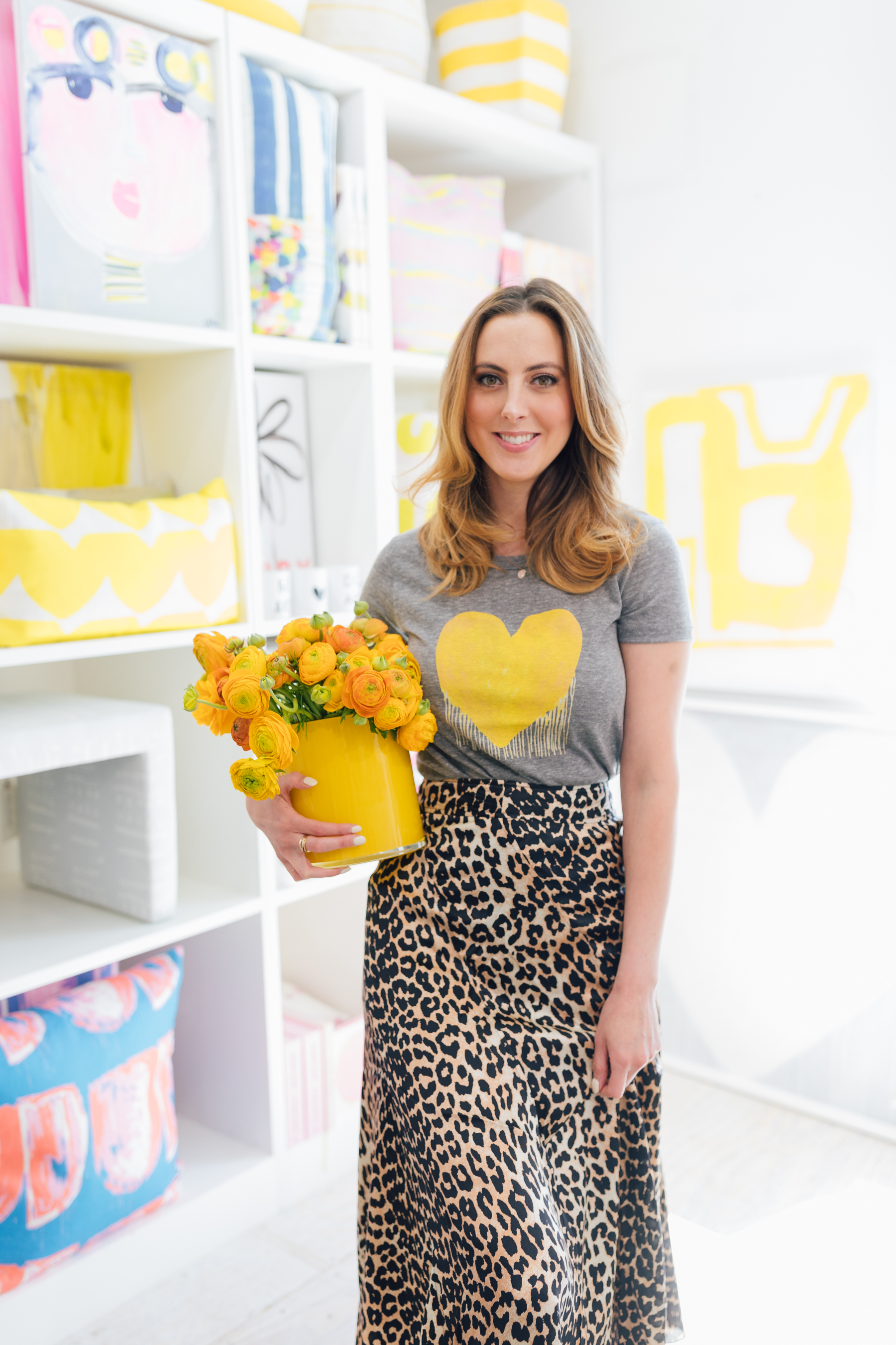Eva wears it well – our  Drenched in Love T-shirt literally  goes with everything, even a Ganni leopard print skirt (sold in shop only).