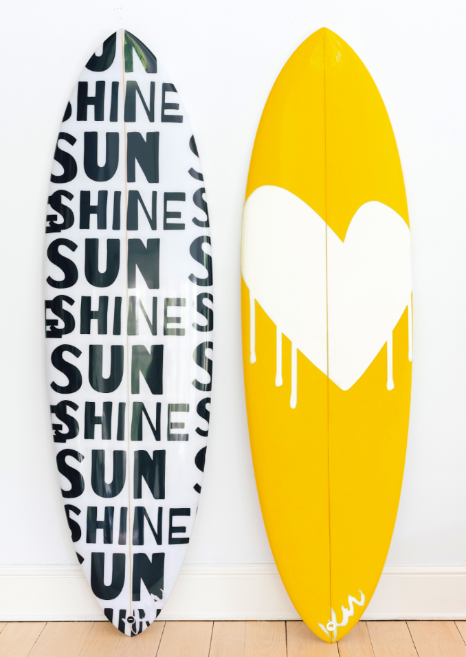 Surfboards in Sunshine Carbon and Drippy Heart