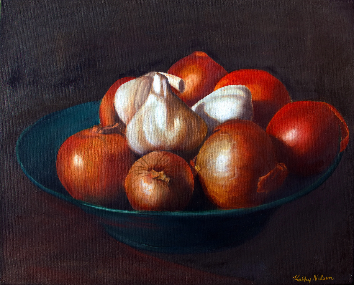 WINTER ONIONS, Oil on Canvas
