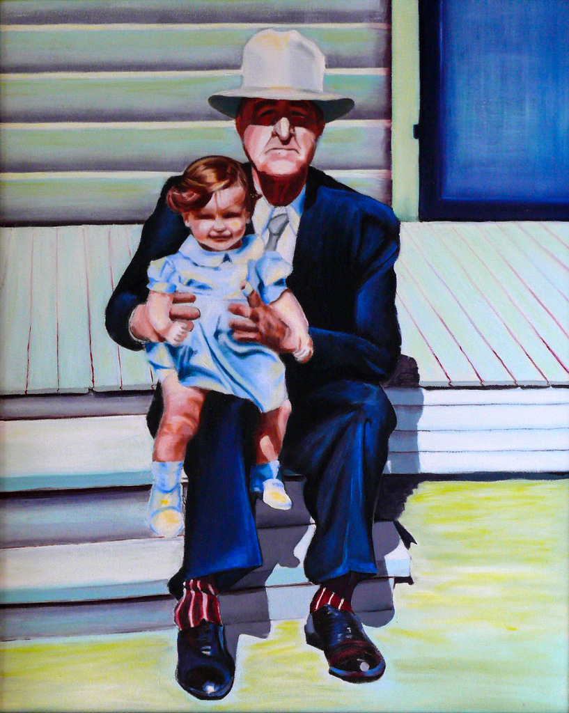 KATHY & GRANDPA, Oil on Canvas