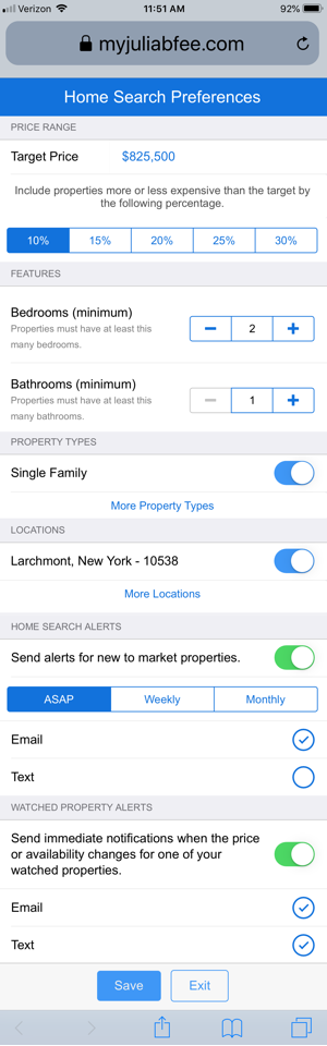 Any of the Home Search preferences for New-to-Market alerts can be adjusted by the agent by selecting Edit Lead after selecting the agent name.
