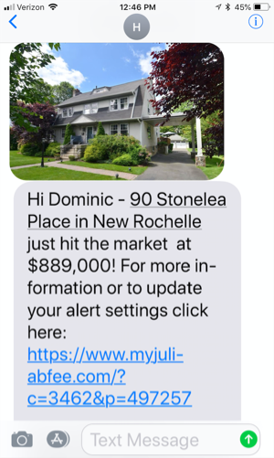 Example of property alert sent as a text message
