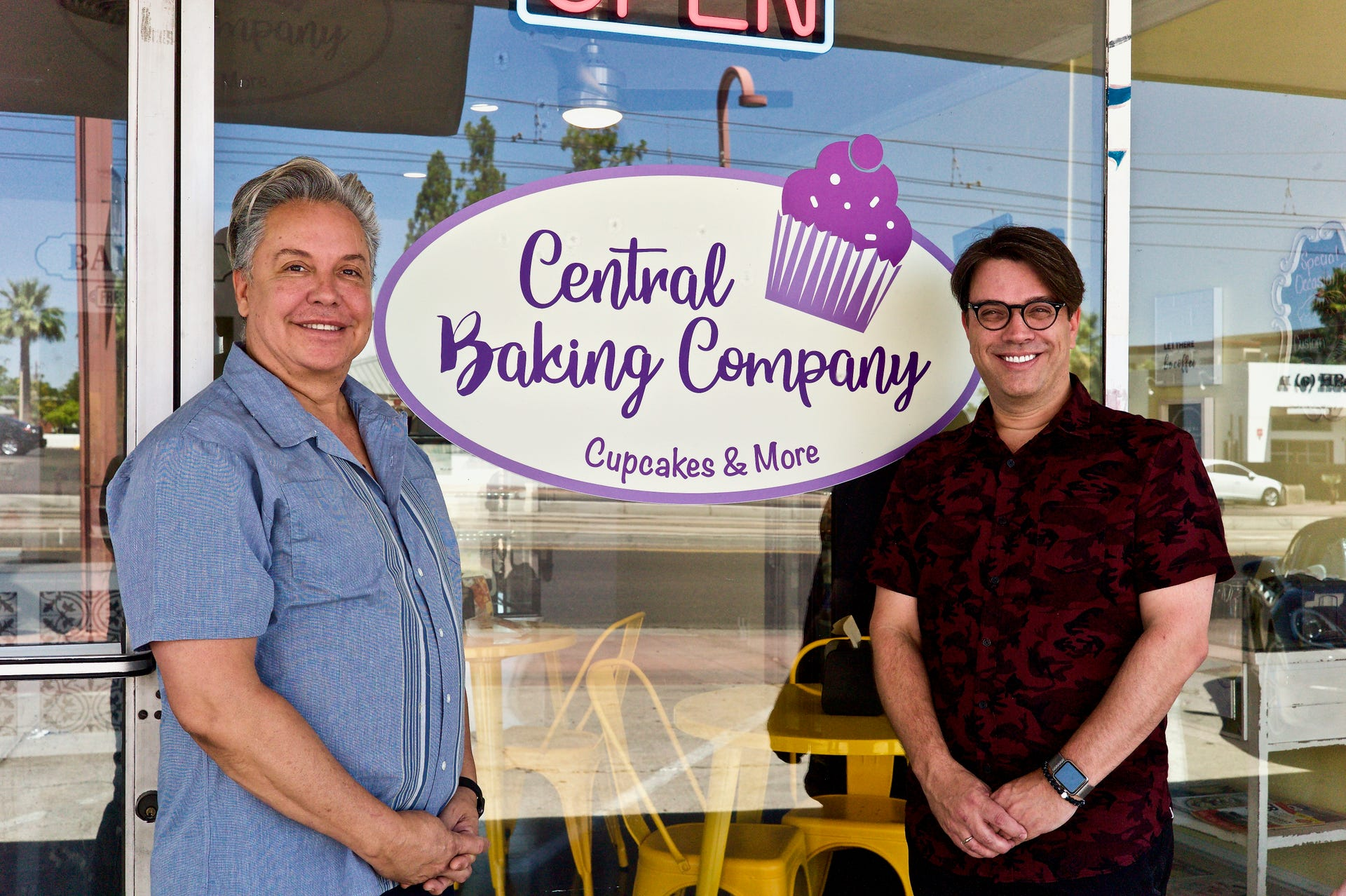 Drew Gomez (left) and John Pagoto opened Central Baking Company next door to their Dilemma Hair Salon on Central Avenue, just south of Camelback Road, on Valentine's Day. (Photo: Jennifer Delgado)